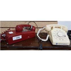 TWO ROTARY DIAL TELEPHONES