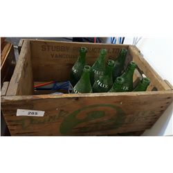 WOODEN POP CRATE W/MISC BOTTLES