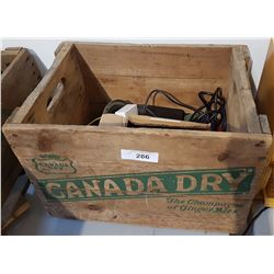 CANADA DRY WOOD CRATE W/MISC ELECTRONICS