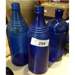 LOT 3 COBALT INK BOTTLES
