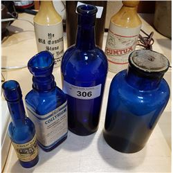 LOT OF 4 COBALT GLASS BOTTLES