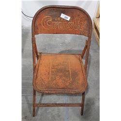 VINTAGE ORANGE CRUSH METAL FOLDING CHAIR