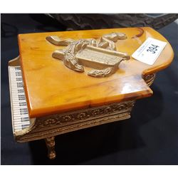 GRAND PIANO WIND UP MUSIC BOX IN BAKELITE CABINET