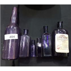 LOT OF 6 AMETHYST GLASS BOTTLES