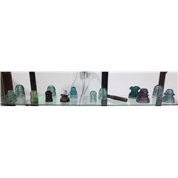 SHELF LOT OF 13 INSULATORS