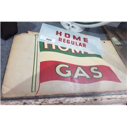 HOME GLASS GAS PUMP SIGN & CARDBOARD ADVERT