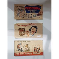LOT OF 3 VINTAGE CARDBOARD ADVERTISEMENTS