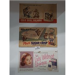 LOT OF 3 VINTAGE ADVERTISING SIGNS