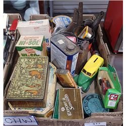BOX LOT OF COLLECTIBLE TINS ECT.