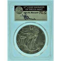 """2017 """"W"""" 1 of 1000 Mercanti Signed PCGS MS70 American Silver Eagle"""