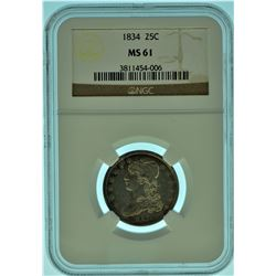 1834 NGC MS61 Capped Bust Quarter A over F Die Variety