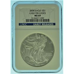 2008 NGC MS69 Early Release American Silver Eagle