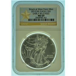 "2012 ""W"" NGC MS69 Early Release American Sivler Eagle"