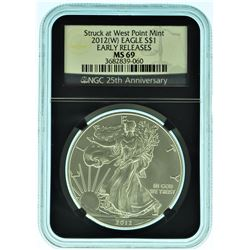 "2012 ""W"" NGC MS69 Black Core American Silver Eagle"