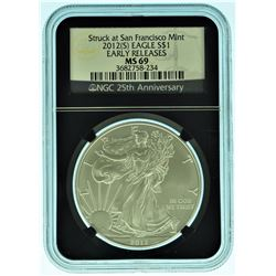 "2012 ""S"" NGC MS69 Black Core American Silver Eagle"