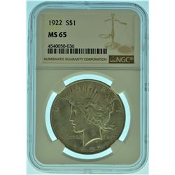 1922 NGC MS65 Silver Peace Dollar