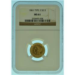 1861 $2.5 NGC MS61 Type 1 Gold Liberty Quarter Eagle