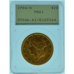 "1904 ""S"" PCGS MS61 Old Green Rattler $20 Gold Liberty"