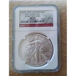 "2011 Silver Eagle ""Early Release"" NGC MS 70 PERFECT!"