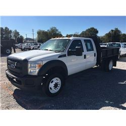 2013 FORD F450 Flatbed Truck, VIN/SN:1FD0W4GY5DEA42380 - crew cab, V10 gas, A/T, 9' steel flatbed, s