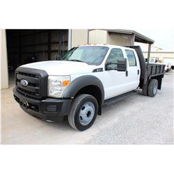 2011 FORD F450 Flatbed Truck, VIN/SN:1FD0W4GY7BEC47910 - crew cab, V10 gas, A/T, 9' steel flatbed, r