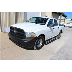 2012 DODGE 1500 Pickup Truck, VIN/SN:1C6RD7KP4CS231546 - 4x4, crew cab, V8 gas, A/T, AC, bed cover,