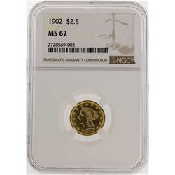 1902 $2 1/2 Liberty Head Quarter Eagle Gold Coin NGC MS62