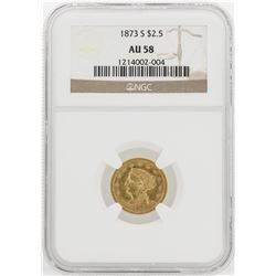 1873-S $2 1/2 Liberty Head Quarter Eagle Gold Coin NGC AU58