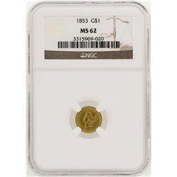 1853 $1 Liberty Head Gold Dollar Coin NGC MS62