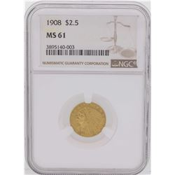 1908 $2 1/2 Indian Head Quarter Eagle Gold Coin NGC MS61