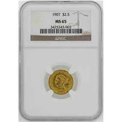 1907 $2 1/2 Liberty Head Quarter Eagle Gold Coin NGC MS65