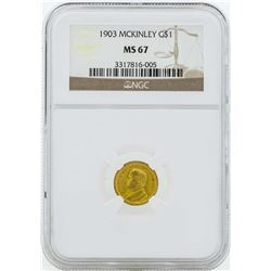 1903 $1 Gold Dollar McKinley Coin NGC MS67