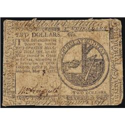 May 1777 $2 Continental Currency Note