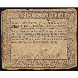 December 7, 1775 Maryland 1/6th Dollar Colonial Currency Note
