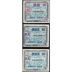 Lot of (3) Assorted Japanese Military Currency Notes Series 100