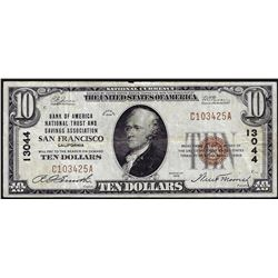 1929 $10 Bank of America National Trust & Savings San Francisco National Note