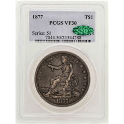 1877 $1 Trade Silver Dollar Coin PCGS VF30 CAC