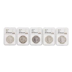 Lot of (5) 1896 $1 Morgan Silver Dollar Coins NGC MS63