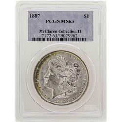 1887 $1 Morgan Silver Dollar Coin PCGS MS63 Nice Toning