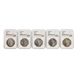 Lot of (5) 1883-O $1 Morgan Silver Dollar Coins NGC MS64