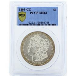 1893-CC $1 Morgan Silver Dollar Coin PCGS MS61