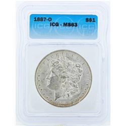 1887-O $1 Morgan Silver Dollar Coin ICG MS63