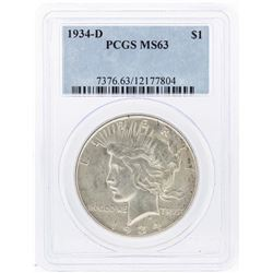 1934-D $1 Peace Silver Dollar Coin PCGS MS63
