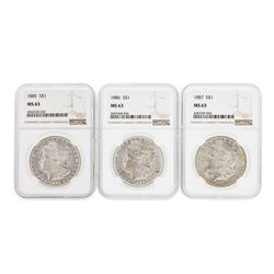 1885-1887 $1 Morgan Silver Dollar Coins NGC MS63