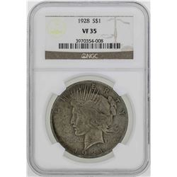 1928 $1 Peace Silver Dollar Coin NGC VF35