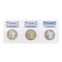 Lot of (3) 1881-S $1 Morgan Silver Dollar Coins PCGS MS64