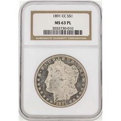 1891-CC $1 Morgan Silver Dollar NGC MS63 PL