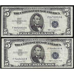 Lot of (2) 1953B $5 Silver Certificate Notes