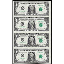 Uncut Sheet of (4) 1988A $1 Federal Reserve Notes