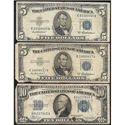 Lot of (3) 1934 & 1953 Silver Certificate Notes